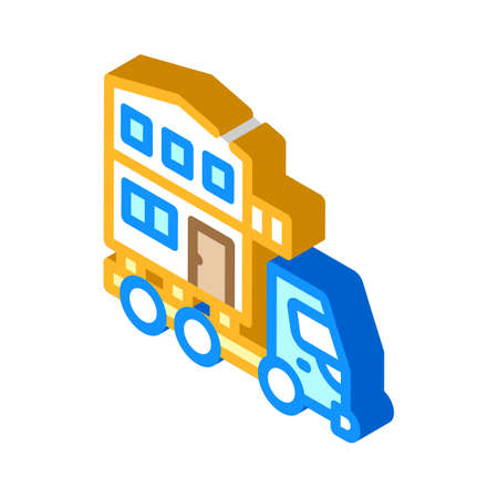 house building transportation isometric icon vector illustration