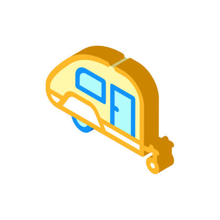 trailer home on wheels isometric icon vector illustration Vettoriali