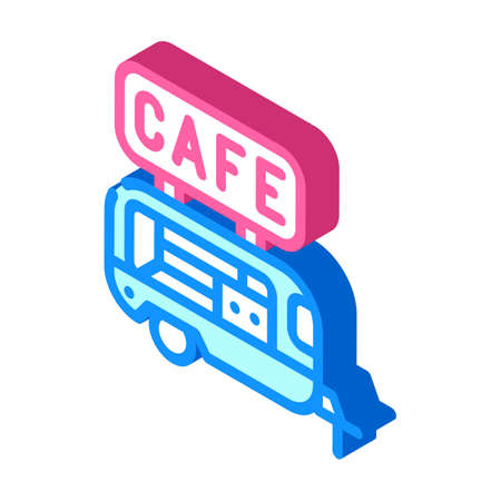 cafe trailer isometric icon vector illustration color