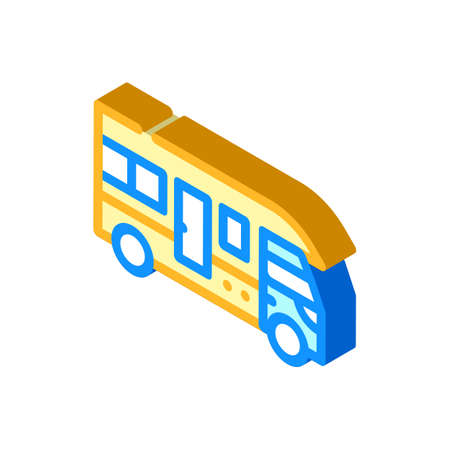 truck house on wheels isometric icon vector illustration
