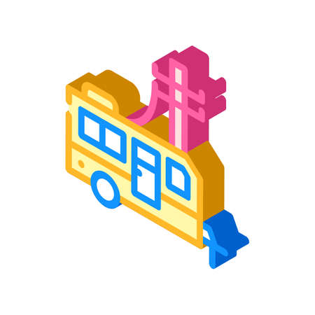 electricity connection mobile home isometric icon vector illustration Vettoriali