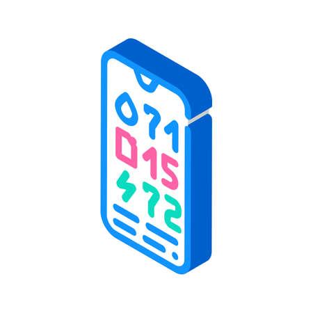 charge level control, water and fuel on mobile phone isometric icon vector illustration