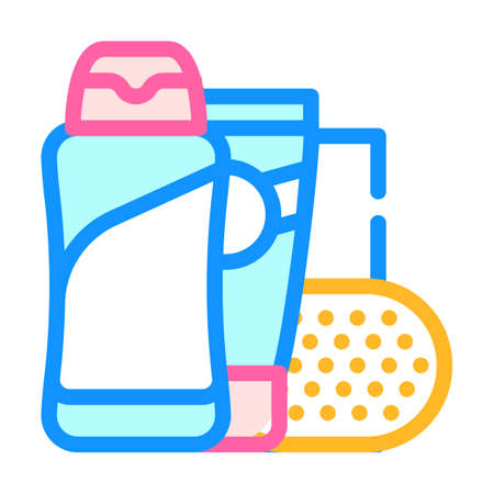 shower gel, soap and cream color icon vector illustration