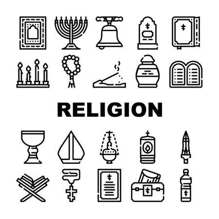 Religion Holy Praying Collection Icons Set Vector