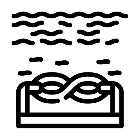 electric energy underwater tidal power plant line icon vector illustration