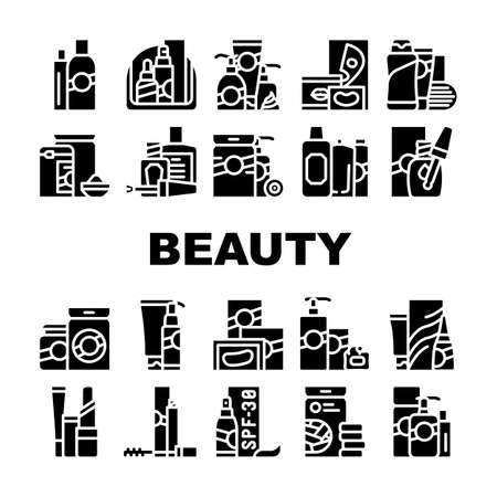 Beauty Products Makeup Collection Icons Set Vector