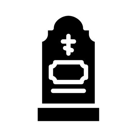 grave headstone glyph icon vector illustration black