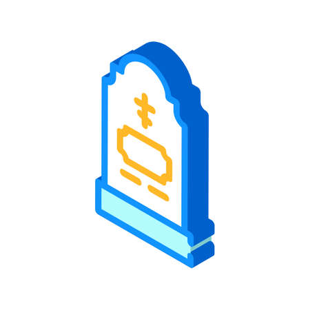 grave headstone isometric icon vector illustration color