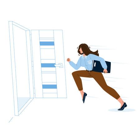 Woman Leaving Room, Running To Open Door Vector