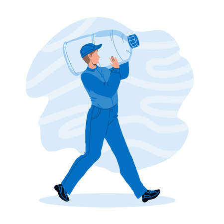 Water Delivery Service Worker Carry Bottle Vector