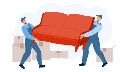 Movers Carry Sofa And Move To New House Vector Vecteurs