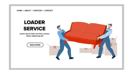 Loader Service Workers Moving Sofa Together Vector