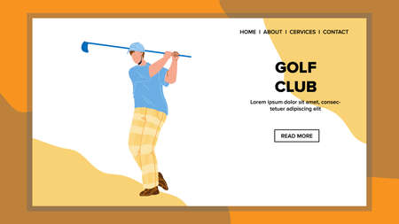Golf Club Hold And Swing Golfer Sportsman Vector