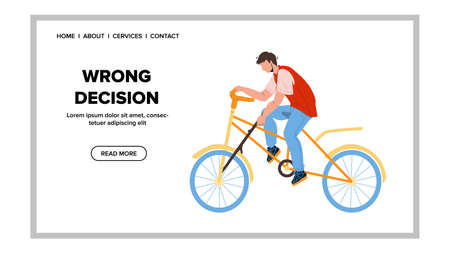 Wrong Decision Making Rider On Bicycle Vector