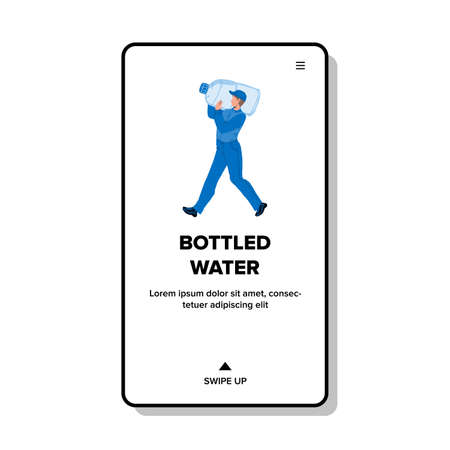 Bottled Water Carrying Man On Shoulder Vector