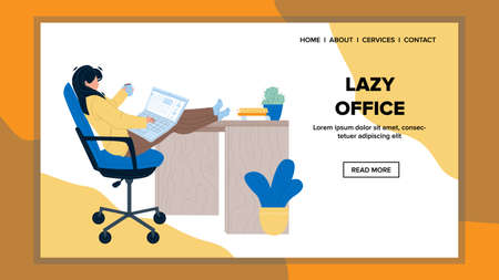 Lazy Office Employee Working On Laptop Vector