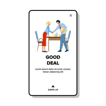 Good Deal Businesspeople Shaking Hands Vector Illustration