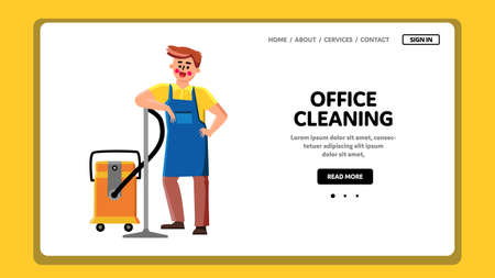 Office Cleaning Service Worker With Vacuum Vector