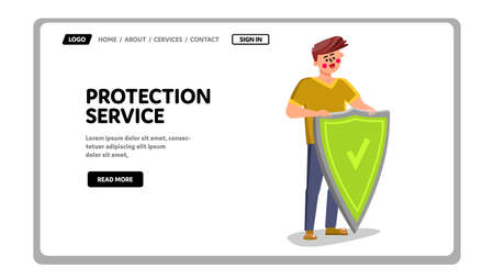 Protection Service Worker Holding Shield Vector Illustration