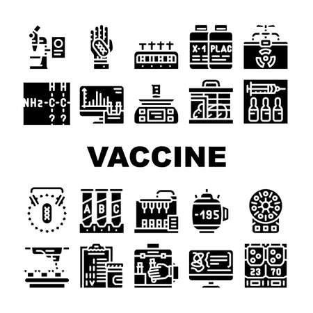 Vaccine Production Collection Icons Set Vector Flat