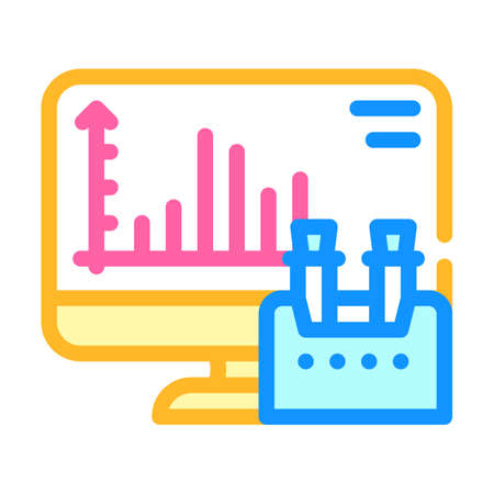 computer analysis of vaccine color icon vector illustration