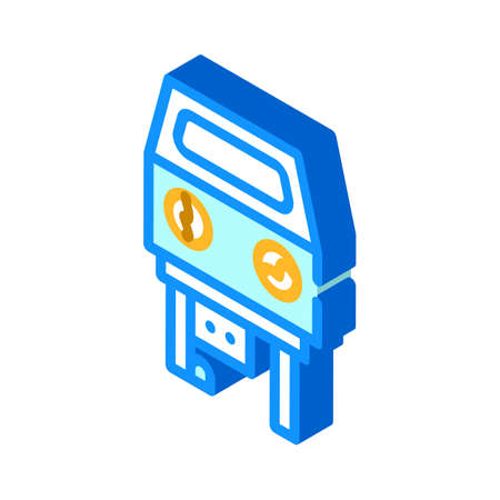 sandblasting chamber isometric icon vector illustration color