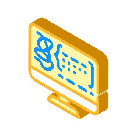 decoding protein molecule isometric icon vector illustration