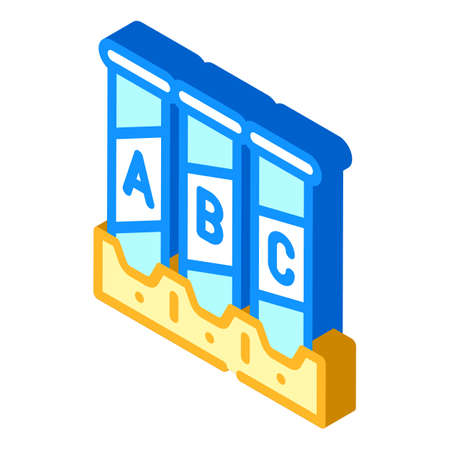 tubes with analysis or vaccine isometric icon vector illustration