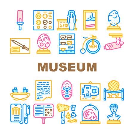 Museum Exhibits And Excursion Icons Set Vector Vecteurs