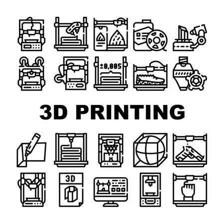 3d Printing Equipment Collection Icons Set Vector