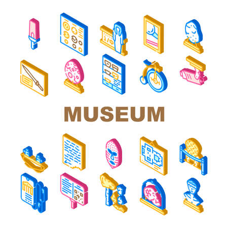 Museum Exhibits And Excursion Icons Set Vector