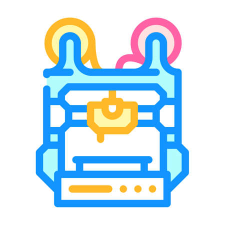 double extruder 3d printer color icon vector illustration