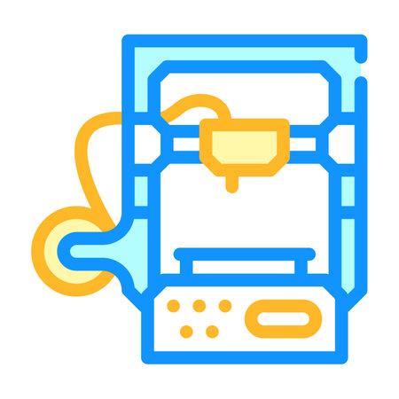 3d printer color icon vector illustration color