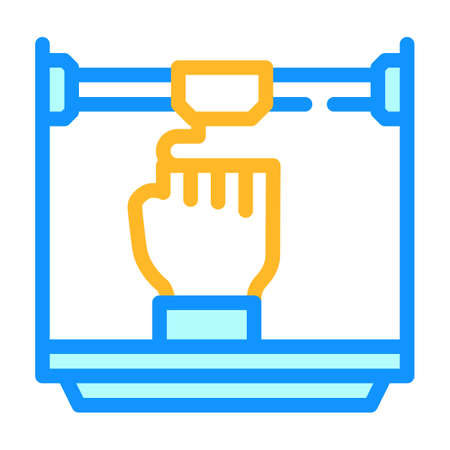 prostheses 3d printing color icon vector illustration