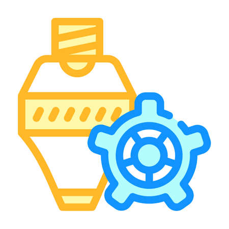consumables, print head and gear color icon vector illustration