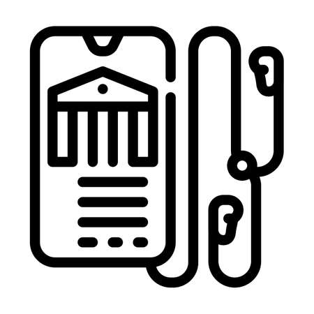 audio guide museum line icon vector illustration