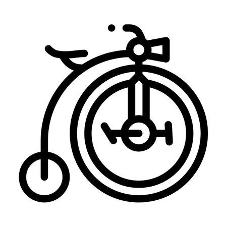 bike technique museum exhibit line icon vector illustration