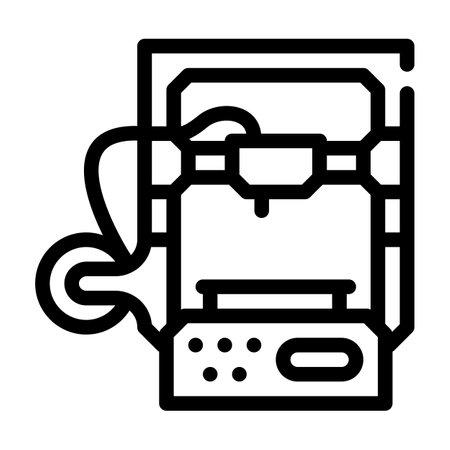 3d printer line icon vector illustration flat 向量圖像