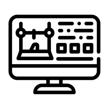 monitor with printer settings line icon vector illustration