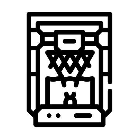 based on stereolithography 3d printer line icon vector illustration