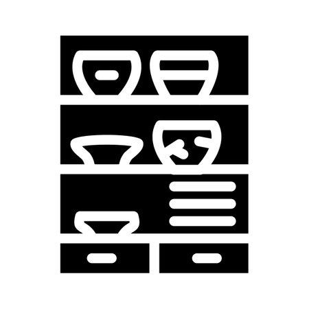 pottery museum exhibit glyph icon vector illustration
