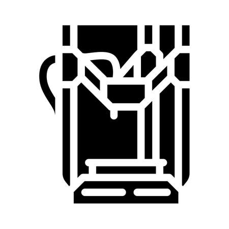 3d printer electronic equipment glyph icon vector illustration