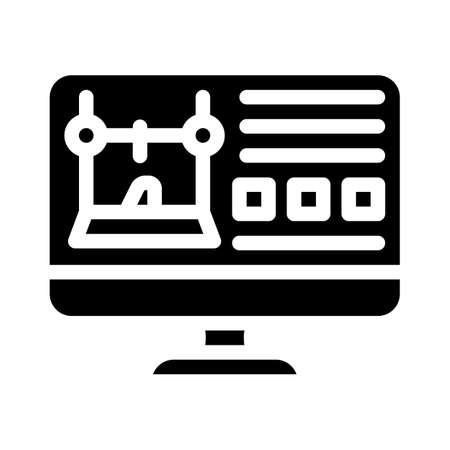 monitor with printer settings glyph icon vector illustration