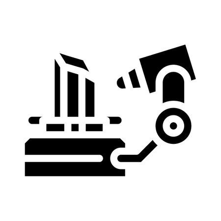3d scanner glyph icon vector illustration flat