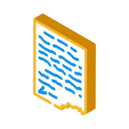 letter, manuscript or historical document museum exhibit isometric icon vector illustration