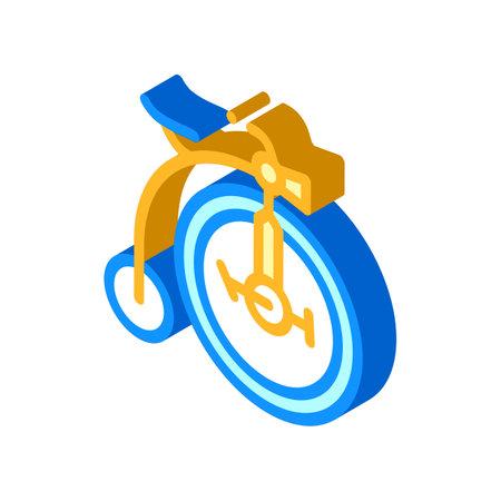 bike technique museum exhibit isometric icon vector illustration