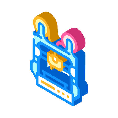 double extruder 3d printer isometric icon vector illustration