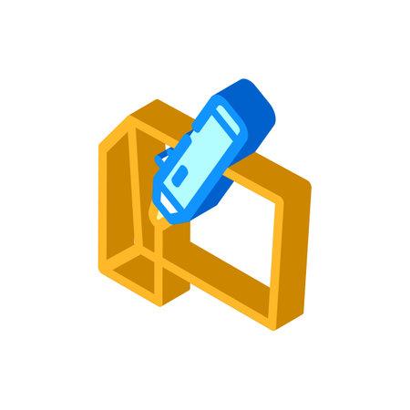 3d pen isometric icon vector illustration color