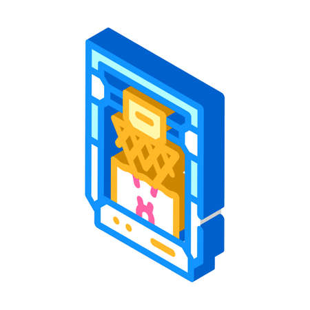 based on stereolithography 3d printer isometric icon vector illustration