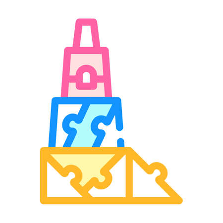 3d constructor and puzzle toy color icon vector illustration